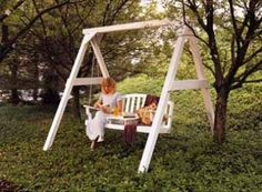"77 - Garden Swing - This plan originally appeared in Popular Woodworking Magazine. It was used without attribution in #MyShedPlans ""220 Woodworking Projects"""