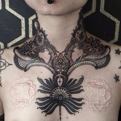 55 Delicate Lace Tattoo Designs for Every Kind of Girl Cool Chest Tattoos, Chest Tattoos For Women, Great Tattoos, Body Art Tattoos, Girl Tattoos, Blackwork, Victorian Tattoo, Collar Tattoo, Tattoo Neck