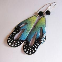Dangle earrings, spring jewelry, butterfly earrings, mint green blue wings, enamel bohemian jewelry by OxArtJewelry @Etsy.  ($49)