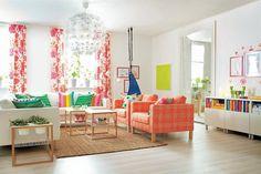 KARLSTAD armchair £205 Husie orange. 299.291.88 (far right) ÄLGÖRT fabric £6/m W150cm. Moose/pink. 302.272.62
