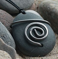 Stone Spiral Pendant Gratitude Pendant Steel Wire. $35.00, via Etsy.