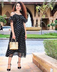 4596b5253f3 Black Polka Dot Print Cold Shoulder Ruffled Maxi Dress