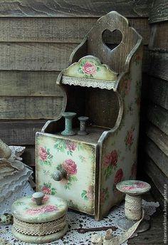 """Купить """"Белошвейка"""" - Комодик+шкатулка+ 3 катушки... - белый, розы, шебби, комодик, полка, комодик для рукоделия"""