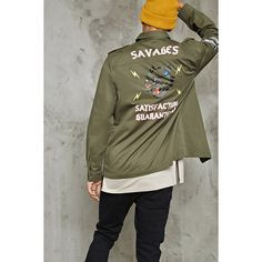 Forever21 Savages Graphic Utility Jacket ($35) ❤ liked on Polyvore featuring men's fashion, men's clothing, men's outerwear, men's jackets, men's embroidered bomber jacket, mens cotton jacket and mens short sleeve jacket