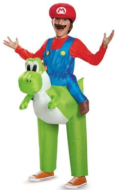 This Mario Riding Yoshi Child Costume turns your kid into the hero from Super Mario World! It comes complete with inflatable Yoshi!