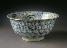 Bowl (Wan) with Flowers and Festoons, China, Jiangxi Province, Jingdezhen, Chinese, late Ming dynasty, late 15th-early 16th century. Wheel-thrown porcelain with underglaze blue painted decoration and clear glaze. Height: 2 3/4 in. Diameter: 5 3/4 in.