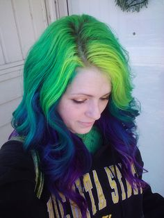 green, blue and purple hair