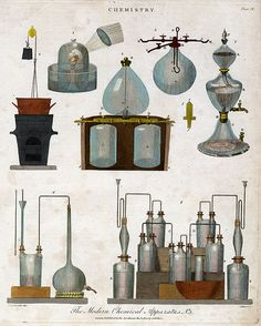 The Modern Chemistry Apparatus No. Pass, after the drawing by Henry Lascelles. Chemistry Experiments, Chemistry Labs, Prop Design, Design Lab, Illustration Inspiration, Tarot, Book Projects, Alchemy, Fantasy