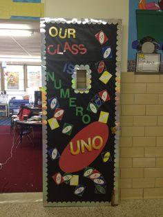 """Uno Game Classroom Door Decoration-""""Our Class is Numero Uno"""" - New Deko Sites Spanish Classroom Door, Classroom Themes, Future Classroom, Board Game Themes, Game Boards, Door Games, Teacher Doors, Preschool Bulletin Boards, School Doors"""