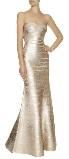 Hervé Léger Sara Bandage Gown...I need to have a more fabulous life so I can have an excuse to buy and wear this dress!! So stunning.