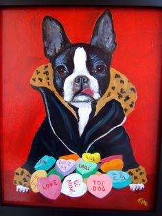 "Boston Terrier Art Dog Print/ ""Top Dog"" / Valentine/by Original Mike Holzer on Etsy, $13.75"