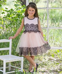 This Black & Pink Lace Dress - Toddler & Girls by Sweet Charlotte is perfect! #zulilyfinds