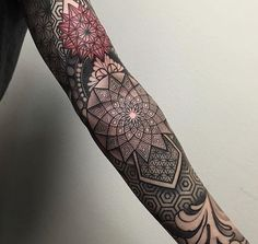 Mandala style full sleeve tattoo by laurajadetattoos. Sleeve tattoos for men tell wondrous stories, they mesmerise any onlooker & are sexy as hell. There's nothing quite like a man with a sleeve tattoo. Enjoy!