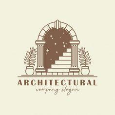 Antique arch logo template. | Premium Vector #Freepik #vector #logo #frame #house #ornament Creative Logo, Creative Art, Illustrations, Illustration Art, Vine Logo, Elegant Logo Design, Book Logo, Logo Design Inspiration, Art Logo