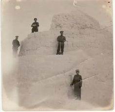 Snow fort built by the Tsar Nicholas II, his daughters and soldiers during captivity in Tobolsk Siberia before it was ordered destroyed because the prisoners could look out over the wooden fence to the outside world. (The Tsar stands in the center with Tsarevich Alexei at the base)