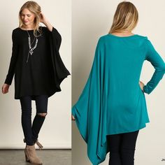 """Diorama"" Long Sleeve Draped Side Top Half long sleeve half draped top. An absolutely must have, fun piece! Available in black, ivory, jade and silver. This listing is for the BLACK. Brand new. Loose fit. S (2-6), M (8-10), L (12-14). NO TRADES DON'T ASK. Bare Anthology Tops Tees - Long Sleeve"