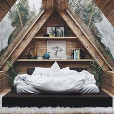 Home Interior Design — Beautiful Bedroom - design modern small tiny house Tiny House Cabin, Tiny House Design, Cabin Homes, Tiny House Bedroom, Loft Design, Design Homes, Attic Design, Tiny Cabins, Cabin Design