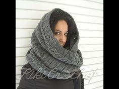 Πλεκτος Φαρδυς Λαιμος με Σχεδιο Πλεξουδες / Crochet Wide Infinity Scarf ...
