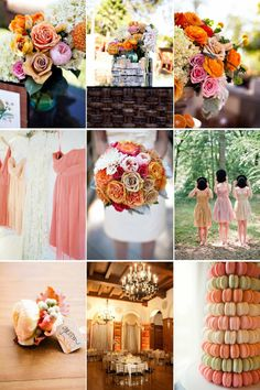 orange, pink and tan.. pretty! A unique wedding color palette to fall for- whimsical garden romance