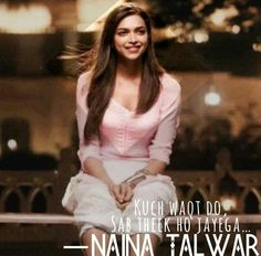 Naina Bollywood Quotes, Bollywood Songs, Bollywood Actress, Travel Love Quotes, Movie Love Quotes, Happy Quotes, Life Quotes, Qoutes, Yjhd Quotes