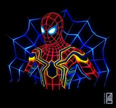 Spiderman:Marvel Neon Potraits Painting