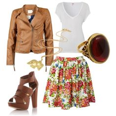 With a floral skirt?  white t-shirt, gold accessories.