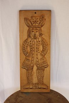 """... vintage FRENCH Wooden Cake MOLD for Gingerbread 16.9"""" x 6.1"""