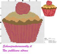 schema punto croce cupcakes con rosellina rossa