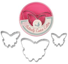 Set Of 3 Butterfly Cookie Cutters - Natural Collection Select