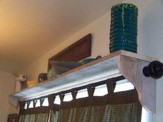 Shelf With Curtain Rod Above Sliding Doors Fabric Is Just