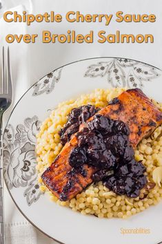 """Recipe: Chipotle Cherry Sauce over Broiled Salmon on a bed of Israeli Couscous, featuring Cherry Jam. Create a special dinner with this sweet and tart sauce with """"heat notes"""" from the chipotle. Marinate your salmon, chicken, duck, game or pork, and use as a glaze for a final layer of intensity. via @Spoonabilities Salmon Recipes, Fish Recipes, Seafood Recipes, Gourmet Recipes, Dinner Recipes, Dinner Ideas, Savoury Recipes, Entree Recipes, Sauce Recipes"""