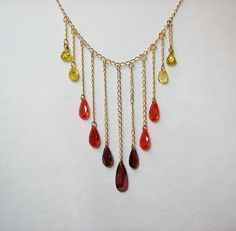 Gold chain & crystal bib necklace Orange red and by ShopPretties, $60.00