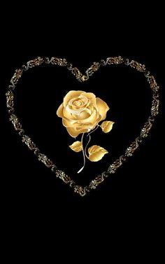 Flower Phone Wallpaper, Gold Wallpaper, Heart Wallpaper, Beautiful Flowers Wallpapers, Beautiful Gif, Beautiful Roses, Beautiful Hearts, Black And Gold Aesthetic, I Love You Images
