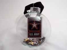 Army Glass Ornament - Patriotic. $6.00, via Etsy.