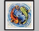 Koi Fish Print - Japanese Tattoo Style Art - Yin Yang Design - tattoo art - 8 x 8 or 12 x 12
