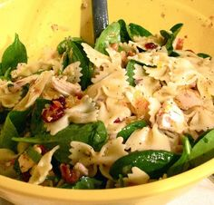 Pasta Spinach Salad without the chicken