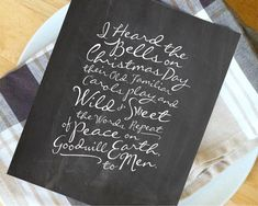 """""""I Heard the Bells On Christmas Day"""" chalkboard print (instant download) 