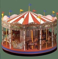Fun Carousel project shown on Il favoloso mondo di carta di Totò: Carousels.  This is assembled from a pattern book and you can see some of what it's like at https://picasaweb.google.com/pitaove532/LbumSinTTulo17?authkey=Gv1sRgCI-hsfeS8tah7AE
