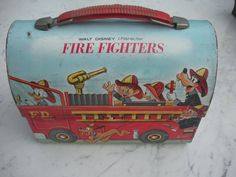 Vintage Disney Fire Fighters Metal Lunch Box by Swansdowne. Mine was scratched all over bottom from sliding to school.