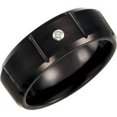White Tungsten .05CTW Black Diamond 8.3mm Satin Finish Grooved Band Size 11