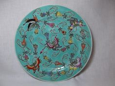 Vtg Chinese Porcelain Butterfly Plate charger 10  china