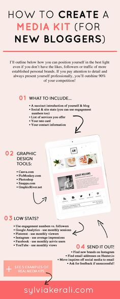 A professional looking media kit is important for positioning your new blog to potential collaborators. Learn how to create a professional media kit using Canva even if you don't have a lot of stats.   How to Create a Media Kit for New Bloggers & Influencers   blogging tips, media kit, blogging for beginners   #mediakit #blogger #bloggingtips   Find more resources and inspiration for bloggers and influencers on sylviakerali.com