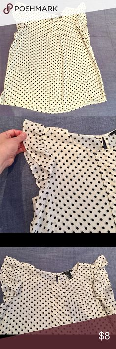Blouse Polka-dot black/white blouse with frilled short sleeves Forever 21 Tops Blouses