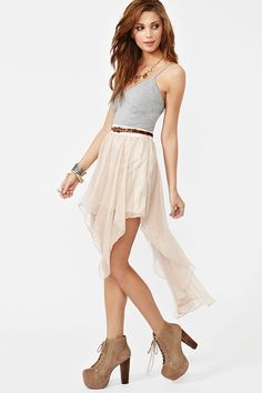 Nasty Gal: Fairy Dust Skirt.  High-Waisted Asymmetrical Chiffon Skirt.  Dreamy <3