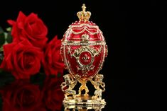 QIFU Hot selling gifts Large Royal Red Imperial Faberge Egg home gift for gifts