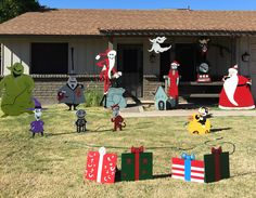 nightmare before christmas yard decorations i made from plywood - Nightmare Before Christmas Lawn Decorations