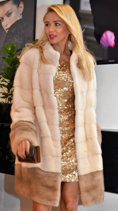 Pearl and Pastel Mink Fur Coat would have shorter bracelet sleeve taper in more may need different color combo