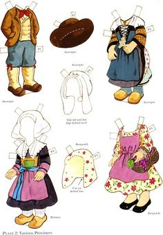 The Paper Dolls of Laura: Paulette y Pierre para vestir con trajes tipicos franceses Coloring Books, Coloring Pages, French Costume, French Boys, World Thinking Day, Bizarre, All Paper, Paper Toys, Fun Crafts