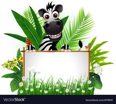Funny zebra with blank sign and tropical forest vector image on VectorStock Background For Powerpoint Presentation, Powerpoint Background Templates, Wallpaper Background Design, Wallpaper Backgrounds, Thankful Tree, Blank Sign, Classroom Labels, School Clipart, Cute Cartoon Animals