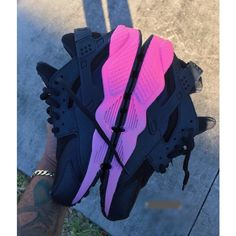 Pink Faded Soles Neon Nike Air Huarache Customs Unisex. ($190) ❤ liked on Polyvore featuring shoes, grey, sneakers & athletic shoes, tie sneakers, unisex adult shoes, neon shoes, colorful shoes, waterproof leather shoes, multicolor shoes and unisex shoes
